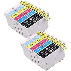 PerfectPrint Compatible Cartouche d'Encre de remplacement pour EPSON STYLUS PHOTO P50R265R285R360Rx-560585Px-650660700W 710W 720WD 730WD T0807(Noir/cyan/magenta/jaune/Light-cyan/Light-magenta, 14-pack)