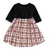 Baby Mädchen Sommerkleid Kinder Langarm Plaid Kleid Prinzessin Kleid Pwtchenty Basic Fattern Kleid Rundhals Baby Mädchen Baumwolle Kleid