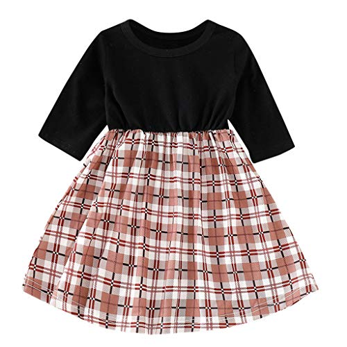 Livoral Mädchen-Kind-Gitter-Lange Hülsen-Partei-Prinzessin Dress Baby Kids Dress Clothes(Schwarz,100) -