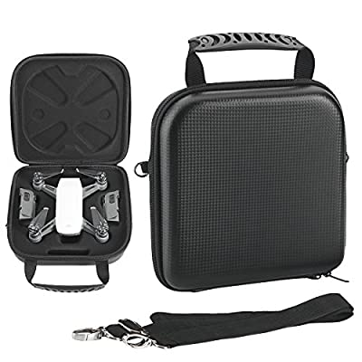 Flycoo Hardshell Storage Carrying Case Shoulder Bag for DJI Spark Drone Battery Charger and Propeller Accessories - Black Bag
