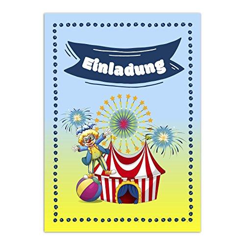 16 Einladungskarten zum Kindergeburtstag - Zirkus, Geburtstagseinladungen im Set