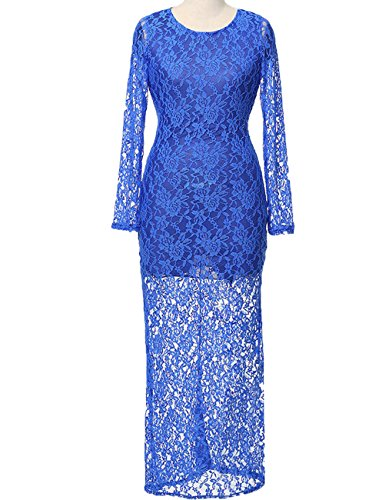 LemonGirl Women's Sexy Lace Long Dress Long Sleeve (Blue Royal Womens Jumpsuit)
