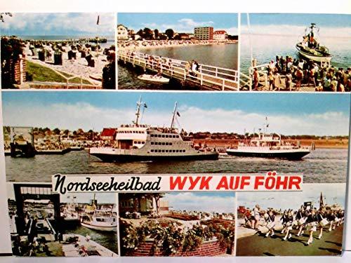 Nordseeheilbad Wyk auf Föhr. Mehrbild AK farbig. Schiffe, Autofähre, Starndpartie, Musikkapelle, Promenade, viele Personen