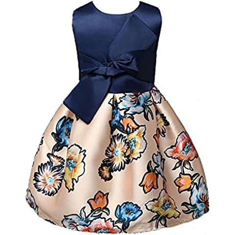 Highdas Vestidos de la impresión floral del banquete de boda de la princesa del arco para niñas