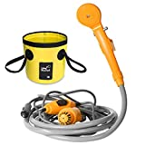 AUTOPkio Portable Outdoor Shower Folding Bucket Kit, Camping Shower Head Plug into 12V