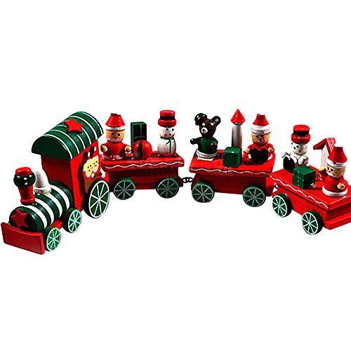 Vovotrade® 4 Pieces Wooden Christmas Xmas Train Toys Decoration Decor Gift