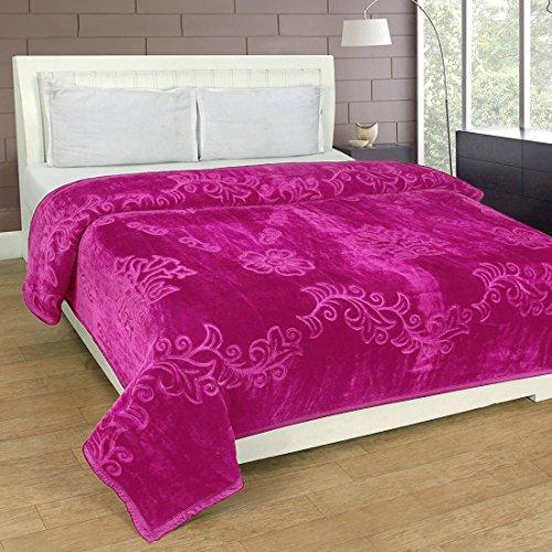 Winter Soft Single Bed Mink Floral Blanket Having Free Blanket Bag-Pink