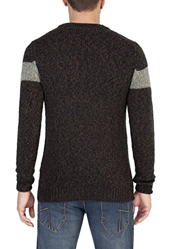 Timezone Herren Pullover Colourblock Crew Braun (Black Brown Melange 6010)