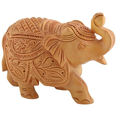 Bagru Crafts Wooden Carved Elephant (White)