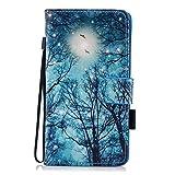 MoreChioce Huawei P20 Lite Hülle,Huawei P20 Lite Leder Flip Case, Bunt Grüne Bäume Muster Leder Wallet Case Handyhülle Klapper Tasche Magnetverschluß mit Kartenfach Standfunktion für Huawei P20 Lite
