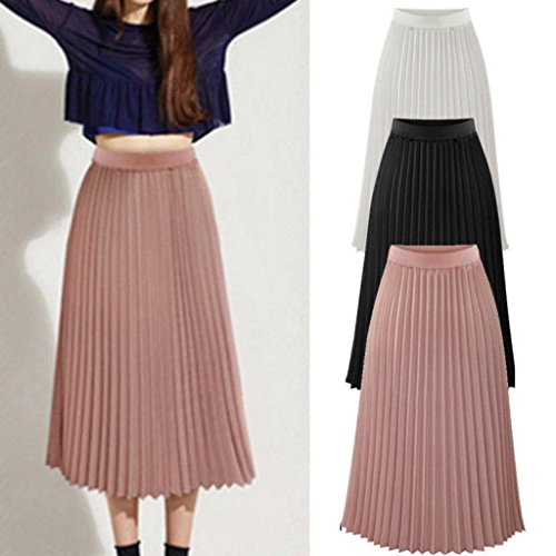 Wawer Maxi Skirt for Women, Summer Girls Solid Pleated Elegant Skirt,Fashion Office Lady Elastic Waist A-Line Mid Skirt for Party Cocktail