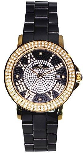 Stella Maris STM15P6 - Montre Femme Cadran noir Quartz Analogique Bracelet Céramique Noir avec diamants et éléments Swarovski