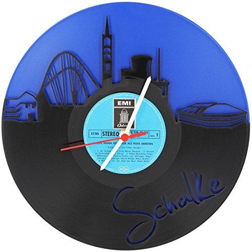 Schalke Fan-Uhr Wanduhr aus Vinyl Schallplattenuhr Upcycling Design-Uhr Vinyl-Uhr Wand-Deko Vintage-Uhr Wand-Dekoration Retro-Uhr Made in Germany
