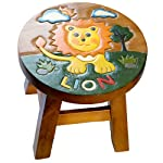Siesta Handmade Wooden Zoo/Jungle Animal Childrens Hand Painted Stool Kids Seat Chair - Elephant, Zebra, Giraffe, Lion