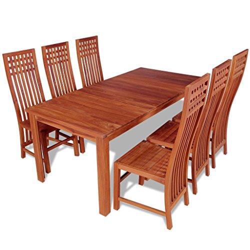 Teak Esstisch Stühle (vidaXL 7-tlg. Massives Teak Essgruppe Esszimmergarnitur Esstisch mit 6 Stühlen)