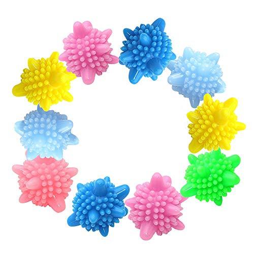 Amacoam Waschball Waschkugel für Waschmaschine Wäscherei Ball Kunststoff Trocknerbälle Wiederverwendbare Trocknerball Laundry Ball Solid Bunte Trockner Bälle, Zufällige Farben 10 Stück