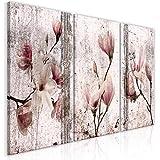 decomonkey Bilder Blumen 120x60 cm 3 Teilig Leinwandbilder Bild auf Leinwand Vlies Wandbild Kunstdruck Wanddeko Wand Wohnzimmer Wanddekoration Deko Magnolie