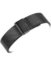 YISUYA - Correa de acero inoxidable con malla milanesa para reloj de pulsera, ancho de 22mm, con cierre de gancho, 2,2 cm, color negro
