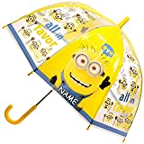 Unbekannt Regenschirm -  Minions - ich einfach unverbesserlich  - inkl. Name - Kinderschirm Ø 70 cm / durchsichtig & durchscheinend - transparent - Kinder - groß Stoc..