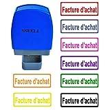 SSEELL Facture d'achat Tampon Encreurs Auto-encreur Bureau self Cachet Stamp Office Pre Inking Timbre - Bleu...