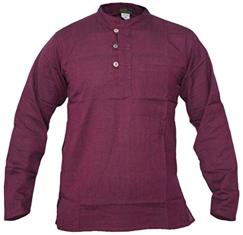Maroon Loose Fit Shirt (LITTLE KATHMANDU Herren Baumwolle Grandad Collarless Festival Sommer Hemden Maroon Medium)