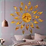 BEST DECOR Sunface Sun Flame Golden(Pack Of 25)Acrylic Sticker, 3D Acrylic Sticker, 3D Mirror, 3D Acrylic Wall Sticker, 3D Acrylic Stickers For Wall, 3D Acrylic Mirror Stickers For Living Room, Bedroom, Kids Room, 3D Acrylic Mural For Home & Offices D