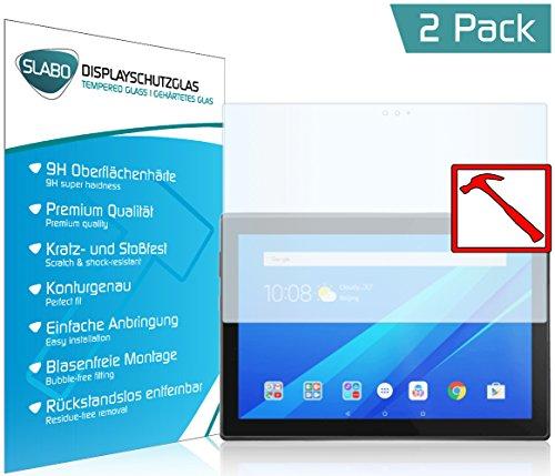 Slabo 2 x Premium Panzerglasfolie für Lenovo Tab4 10 Plus Echtglas Displayschutzfolie Schutzfolie Folie Tempered Glass KLAR - 9H Hartglas