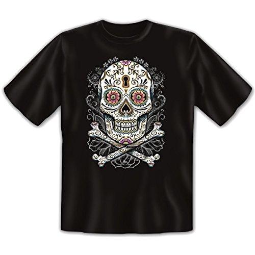 Mexika Stuff - Damen und Herren T-Shirt mit dem Motiv: Floral skull Größe: Farbe: schwarz - von van Petersen Shirts Schwarz