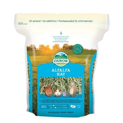 Oxbow Alfalfa Hay 425 gr - Erba medica leguminosa fresca di fattoria, fieno indicato per gli animali in giovane età, femmine gravide e in allattamento (4 sacchetti)