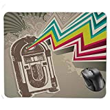 Premium-Textured Mouse pad,Antique Vintage Retro Radio Party with Colorful Zig Zag Design Image Mouse Pad