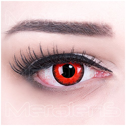 Funnylens 1 Paar farbige rote red Crazy Fun Red Lunatic Kontaktlinsen MIT STÄRKE -1,50 und Behälter von Funnylens. Perfekt zu Halloween, Karneval, Fasching oder Fasnacht.