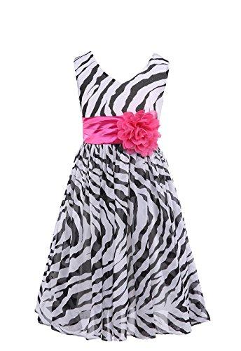 HAPPY ROSE Mädchen A-Linie Kleid Gr. 8 Jahre, zebra (Zebra Kleid Rose)