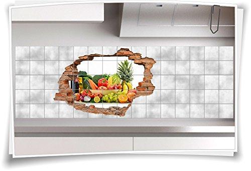 Fliesenaufkleber Fliesenbild Wanddurchbruch Gemüse Obst Ernährung Multivitamin, 120x80cm, 25x25cm (BxH) - 80 Multivitamine