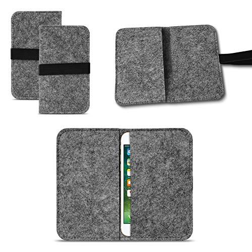 UC-Express Universal Smartphone Cover Tasche Handytasche Case Hülle Schutzhülle Sleeve Filztasche mit Kartenfach, Farbe:Dunkel Grau, Smartphone:Allview P5 Lite
