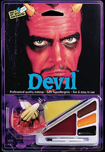 Luzifer Kostüm - Horror-Shop 10-TLG. Teufel Make-up Kit mit Hörner für Luzifer Kostüme an Halloween