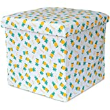 Tied Ribbons Collapsible Ottoman Cum Storage Boxes For Toys | Collapsible Storage Boxes, Footrest Step Stool For Living Room (Canvas ,Multicolor)