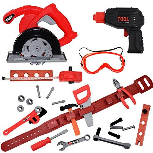 deAO Werkbankspielzeugset: Werkzeuge und Zubehör für Kinder;Batteriebetriebene Bohr- und Stichsägen für Kinder inkl. Gürtel und Maßband (26-teiliges Set)