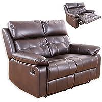 Preisvergleich für Unbekannt 2-Sitzer Sofa - Dunkelbraun - Kunstleder - Relaxfunktion