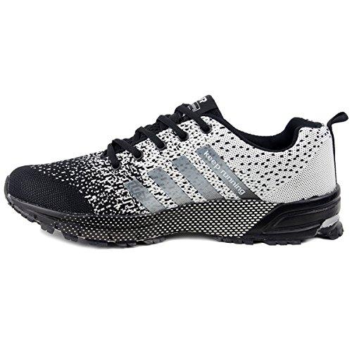 wealsex Scarpe da Corsa su Asfalto di Montagna Sport All'aperto Correndo Scarpe da Corsa per Gli Uomo Nero e grigio