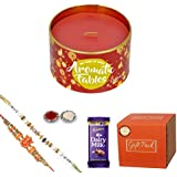 First Row RakshaBandhan Gift Pack With Set Of Two Rakhi & Classic Scented Tin Candle With Roli Chawal & Chocolate For Brother(Men/Boys) Set Of 4- Best Gift From Sister