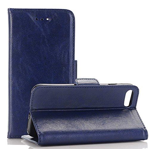 Phone 7 Plus Tasche Leder, TechCode® Luxus PU Leder Hülle Schutztasche Klappetui Brieftasche Handyhülle für Apple iPhone 7 Plus 5.5''(iPhone 7 Plus, Schwarz) Blau