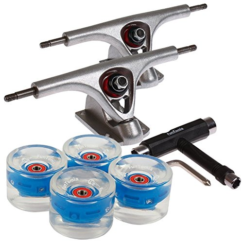 FunTomia 2 Stück Longboard Achsen + 1 Stück T-Tool + 4 Stück LED Longboard/Skateboard Rollen 80A inkl. Mach1® ABEC-11 Kugellager und Spacer -