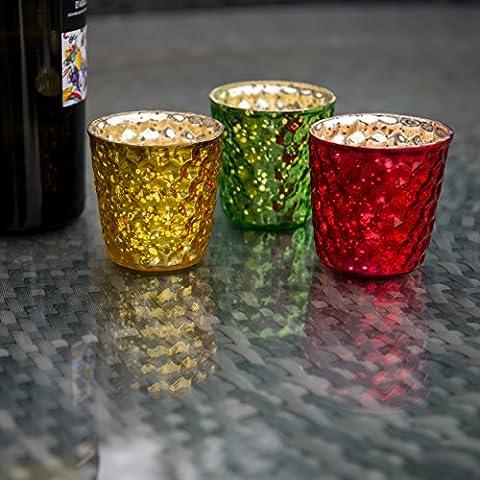 Insideretail-Porta lumini con bolle, effetto vintage, in vetro, colore: giallo, 7 cm, confezione da