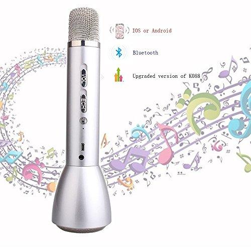 Drahtloses Tragbares Mikrofon Karaoke Wireless Bluetooth Speaker Portable Karaokemit Integriertem Bluetooth-lautsprecher Für Aufnahme Von Sprache Und Sprache, Als Lautsprecher Für Pc, Laptop, Iphone, Ipod, Ipad, Android Smartphone K098 (Silber)