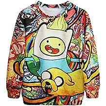 Ninimour Camiseta Hora Aventura estampado de mangas largas 3D print Loose Sweatshirt Top Pullovers Hoodies