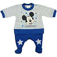 Baby-Schlafanzug LANG-ARM mit Druck-Kn/öpfen durchgehend Spiel-Anzug grau 74 62 Jungen Baby-Strampler mit F/ü/ßchen UNGEF/ÜTTERT von Mickey Mouse in GR/ÖSSE 56 blau 68