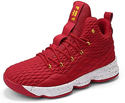 Mens Basketball Shoes Outdoor Non Slip High-Top Sneaker Sports Lightweight Breathable Trainers Black Red Bright Green Champagne Size UK 3.5-11