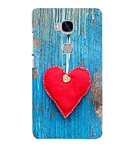 Red Heart 3D Hard Polycarbonate Designer Back Case Cover for Huawei Honor 5X :: Huawei Honor X5 :: Huawei Honor GR5