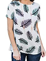 X-Future Women's Casual Feather Printing Short Sleeve Loose Blouse Tops 2 M