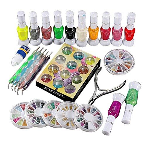Ouneed® Vernis à ongles/ 1 Set Colle polonaise Gem Glitter Strass Clipper Dotting Nail Art Manucure outil (coloré)